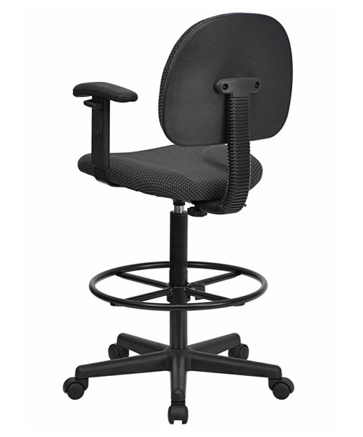 Black Patterned Fabric Ergonomic Stool with Arms