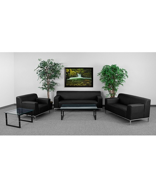 Contemporary Black Leather Love Seat with Stainless Steel Frame