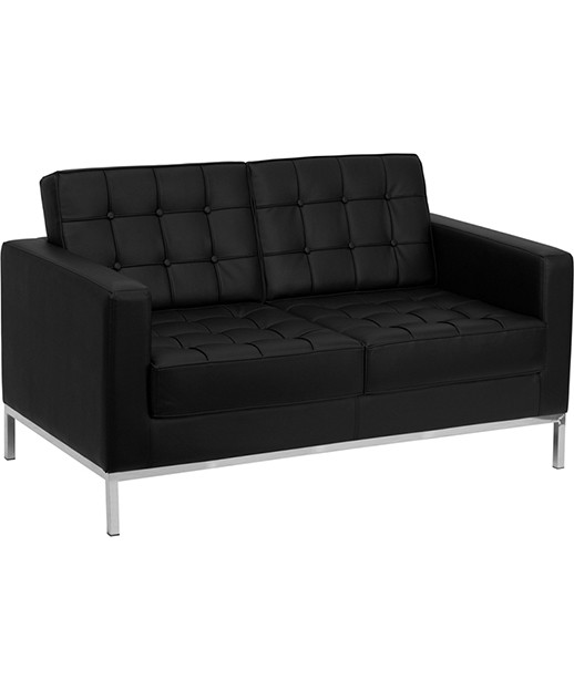 Lacey Black Leather Love Seat with Stainless Steel Frame