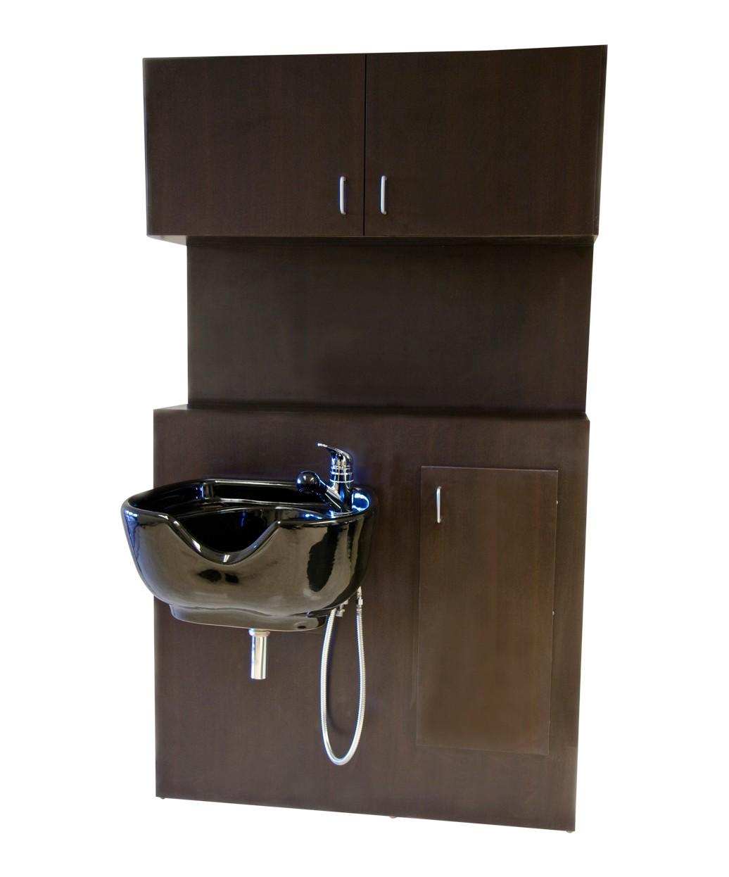 1067 Shampoo Bulkhead with Storage from Buy-Rite Beauty