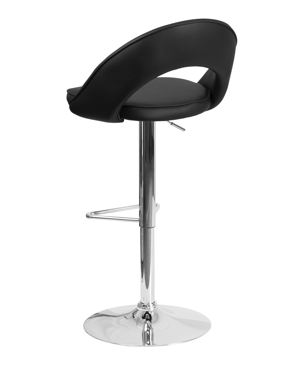 Contemporary Loop Vinyl Adjustable Stool With Chrome Base