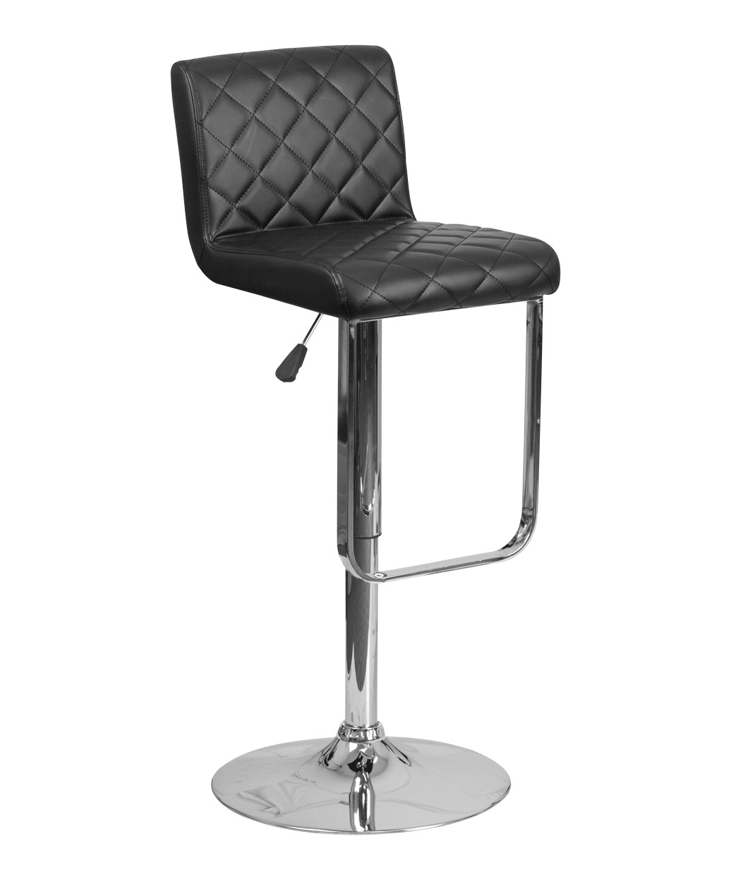 Contemporary Hex Vinyl Adjustable Stool With Chrome Base