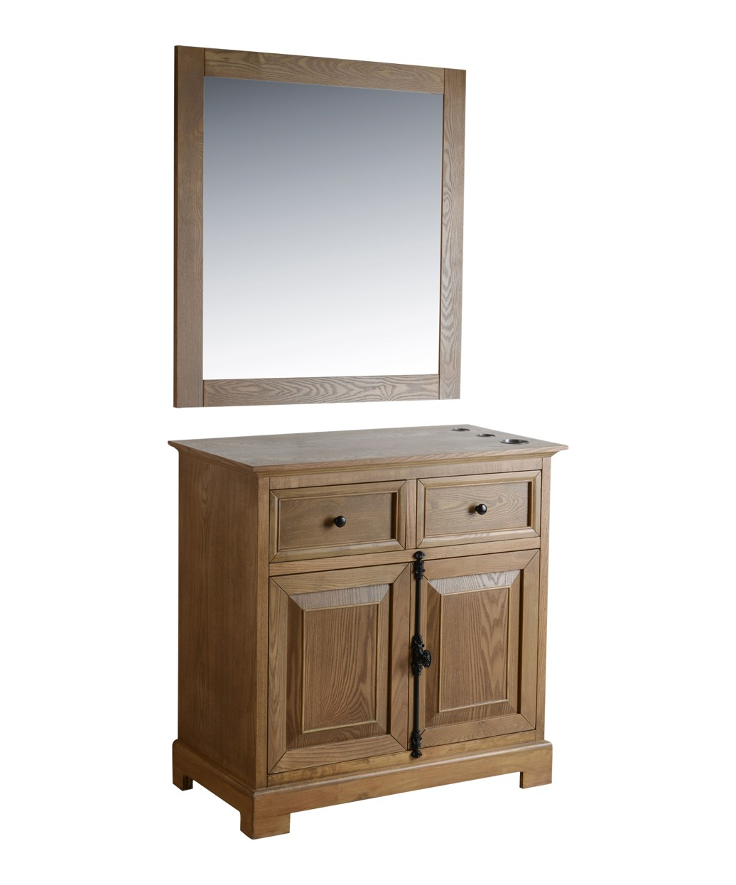 "St. James 36"" Light Oak Vanity Styling Station & Mirror"