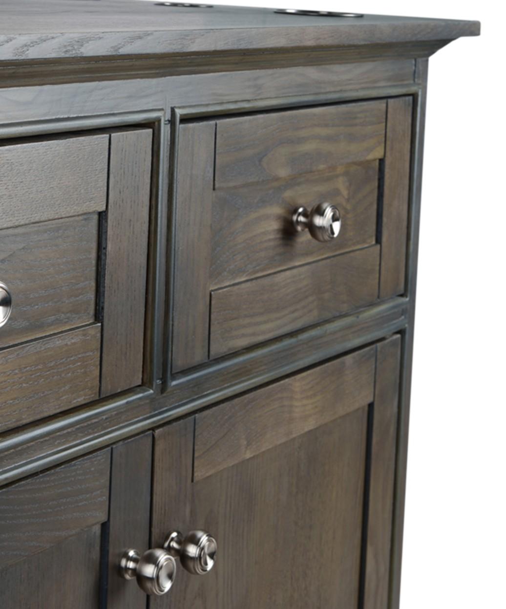 """Hudson 36"""" Grey Oak Vanity Styling Station & Mirror"""