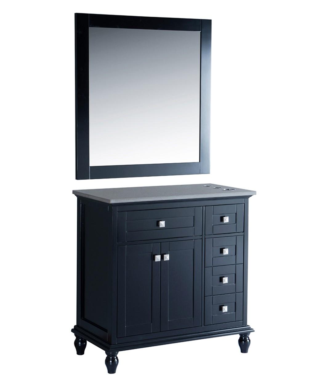 "Madison 42"" Black Vanity Styling Station & Mirror"