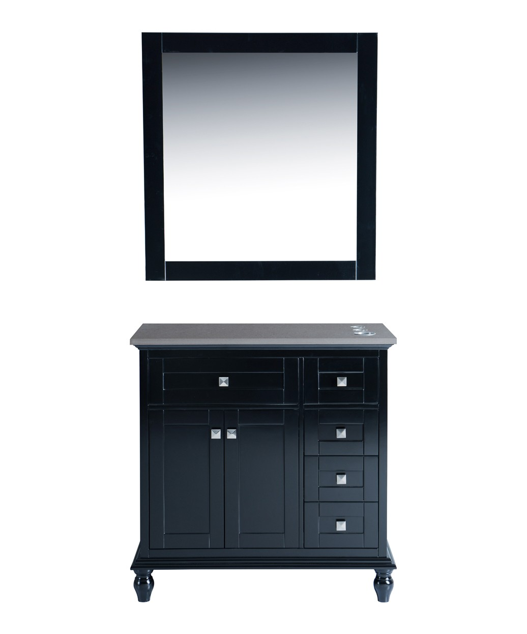 "Madison 36"" Black Vanity Styling Station & Mirror"