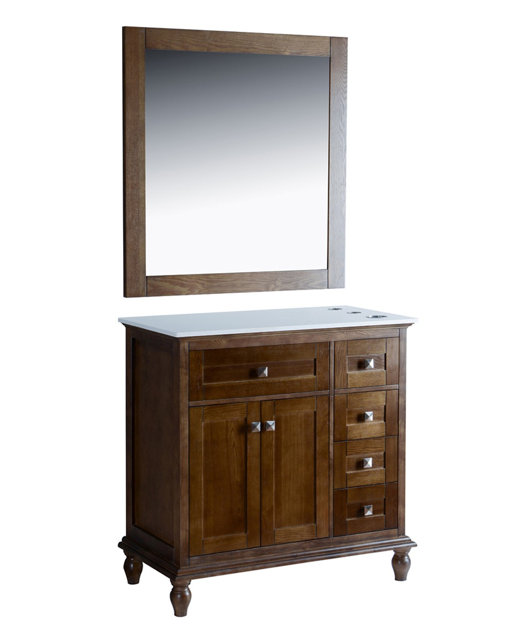"Madison 42"" Walnut Vanity Styling Station & Mirror"