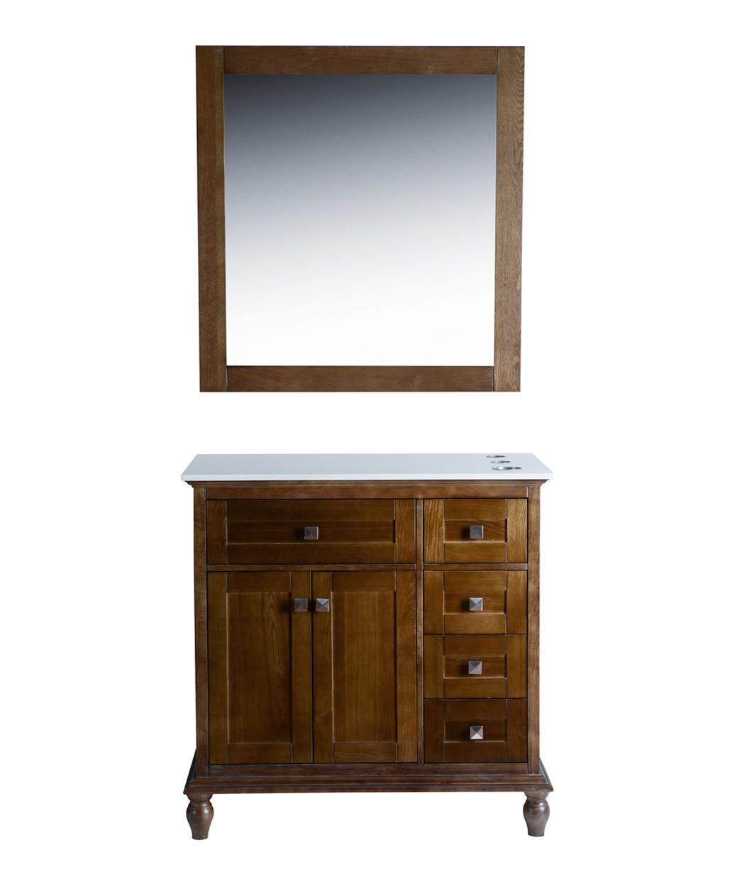 """Madison 36"""" Walnut Vanity Styling Station & Mirror"""