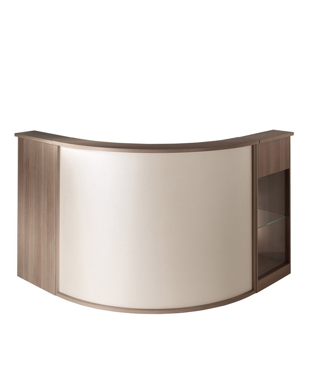 Salon Reception Desks Curved Corner Circular Glass Top Desks