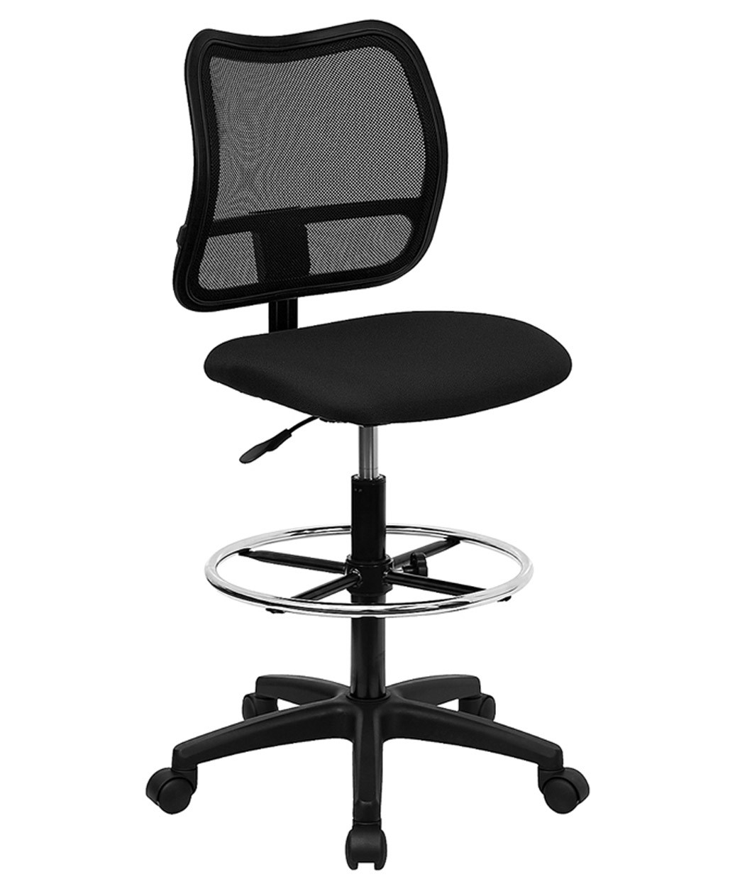 Mid-Back Mesh Stool with Black Fabric Seat