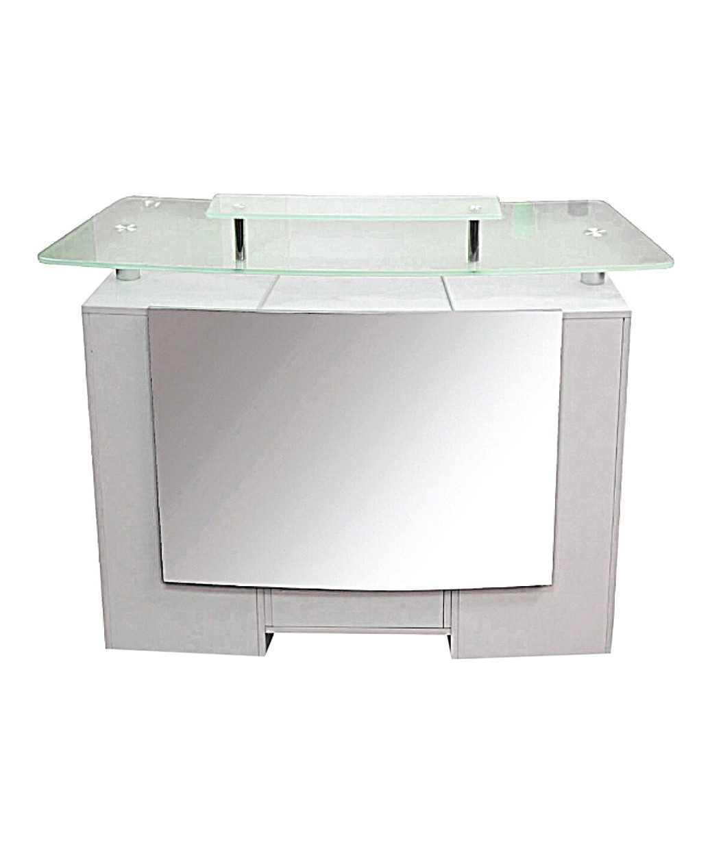 J A Glass Top Reception Desk Walnut