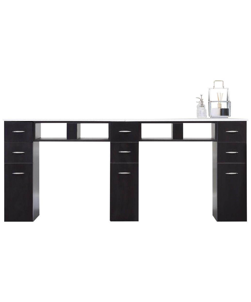 J&A Double White Granite Top Manicure Table