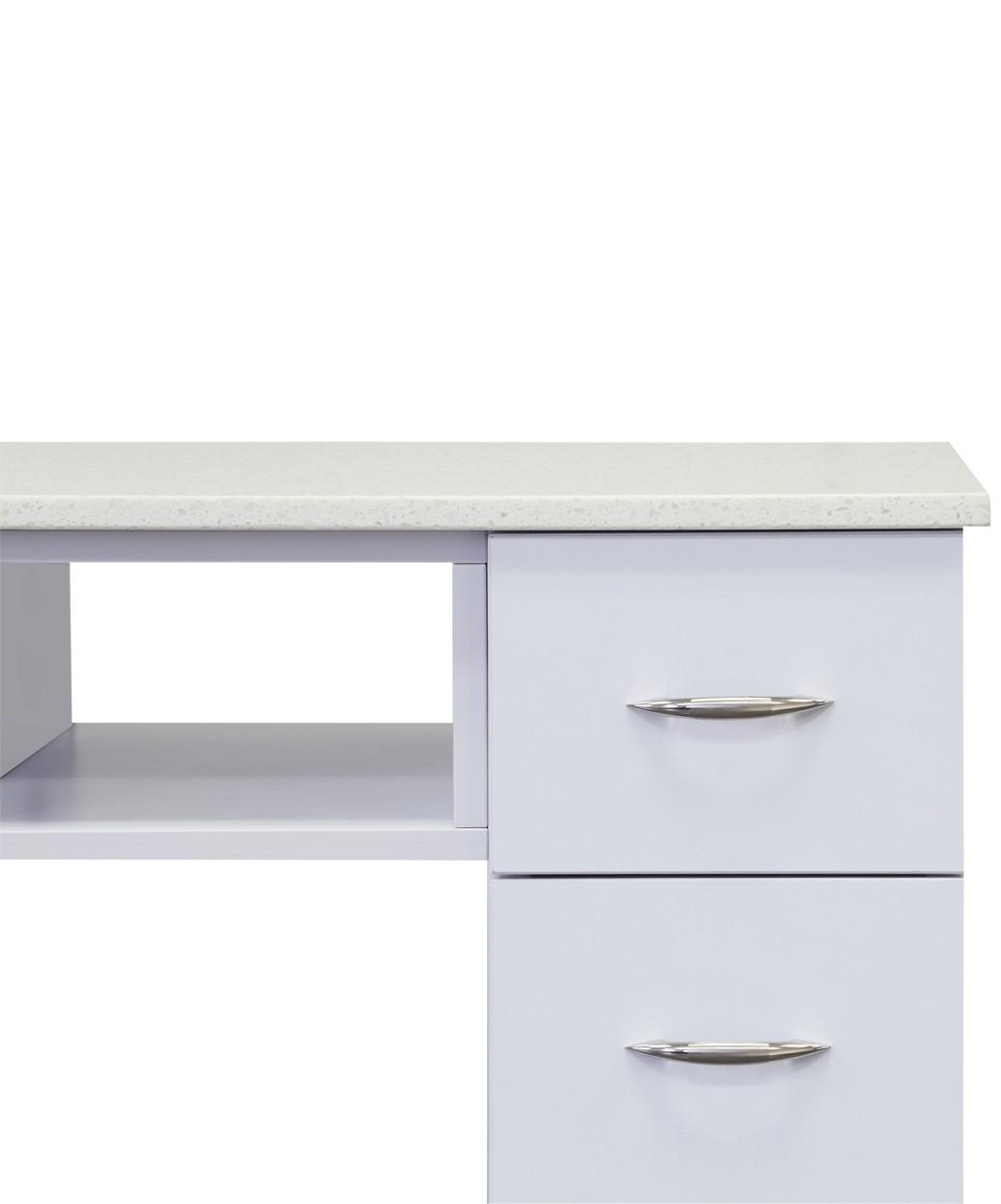 J&A White Granite Top Manicure Table
