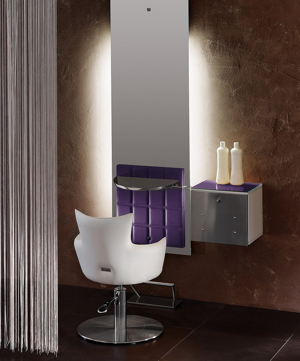 Salon Ambience Lisboa Sky Mirror Styling Station w/ Storage