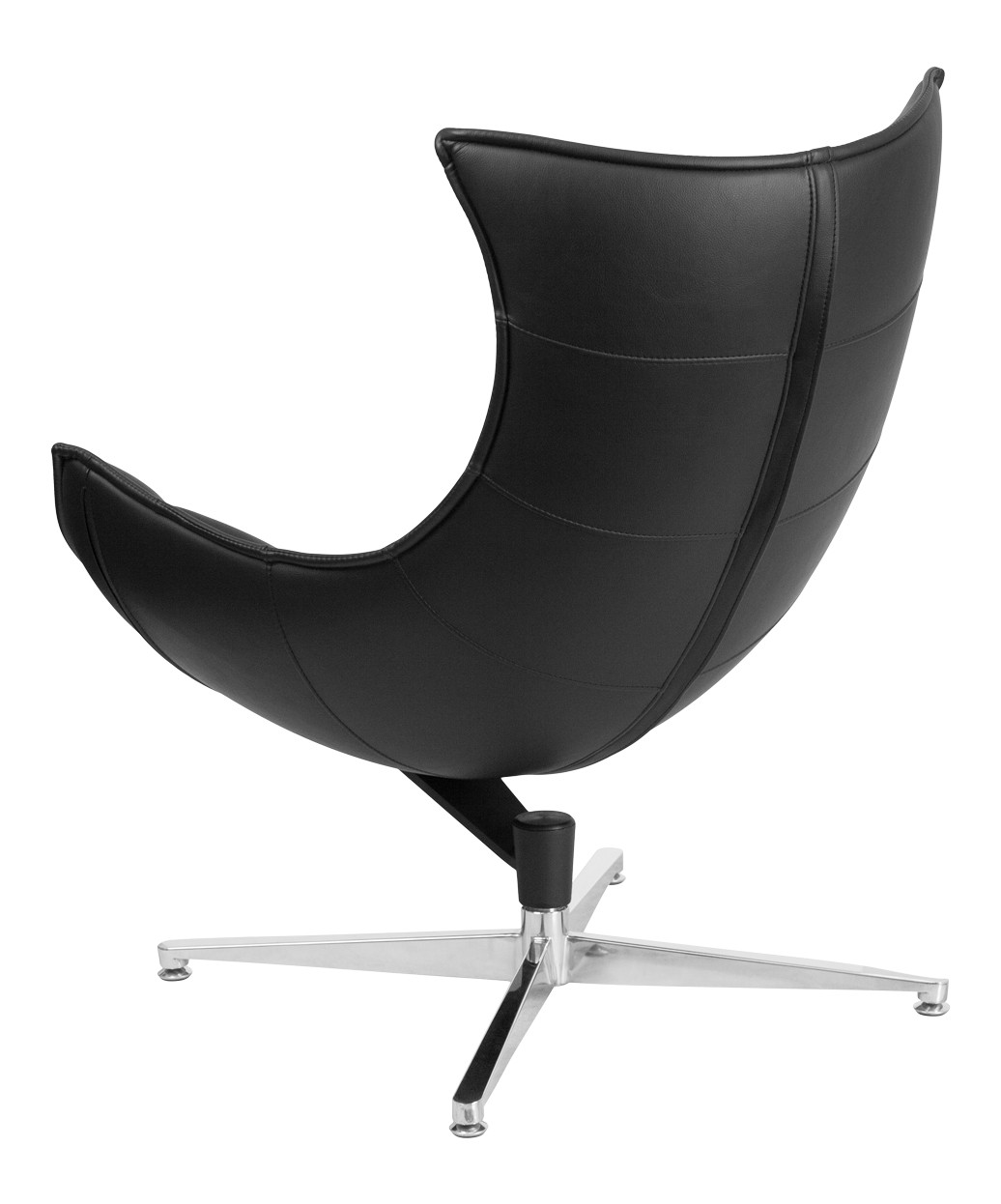 Black Leather Swivel Cocoon Chair