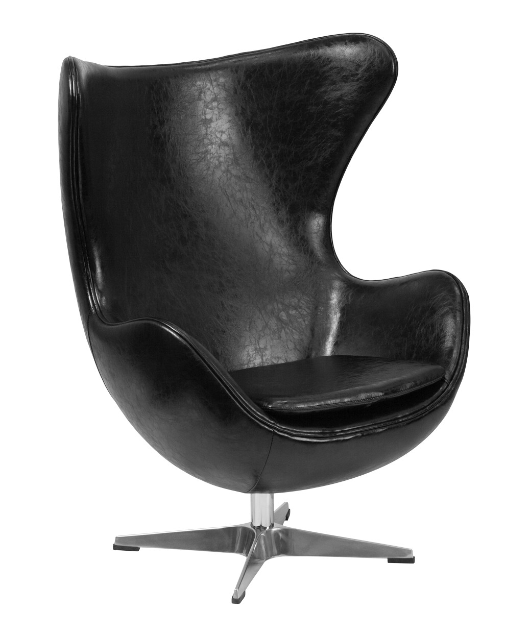 Black Leather Egg Chair With Tilt Lock Mechanism