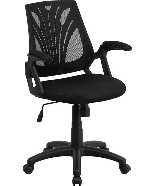 mid back black mesh chair with mesh seat