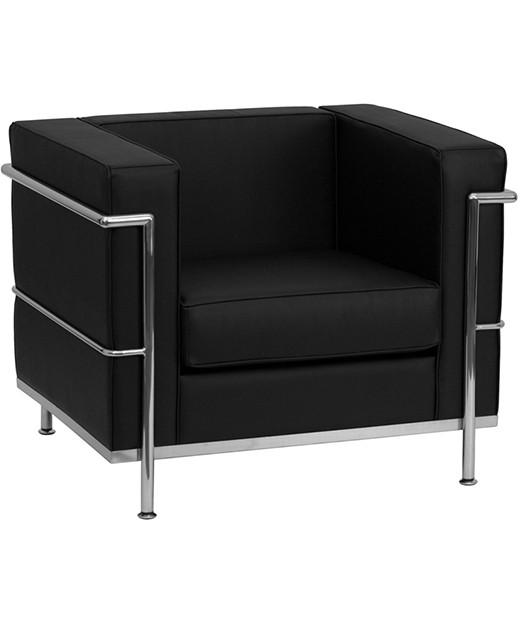Contemporary Black Leather Chair With Metal Encasing Frame