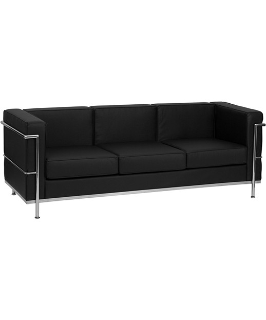Contemporary Black Leather Sofa With Metal Encasing Frame