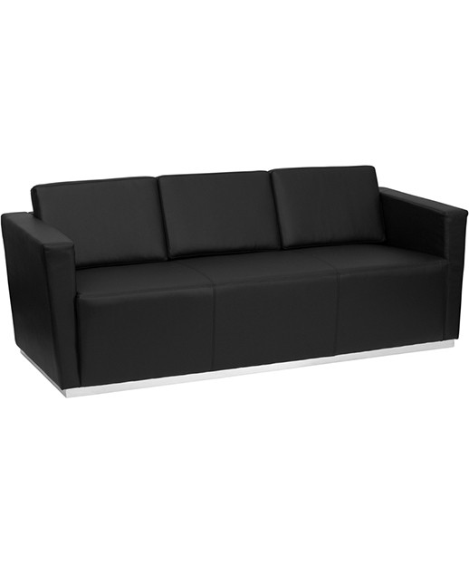 Contemporary Black Leather Sofa with Stainless Steel Base