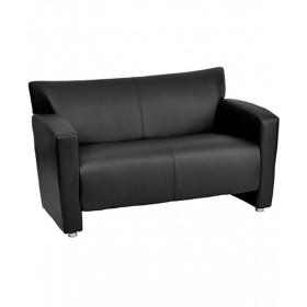 Majesty Black Leather Love Seat