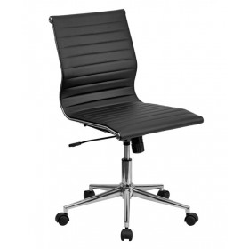 Mid-Back Ribbed Upholstered Leather Task Chair