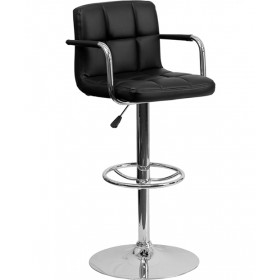 Contemporary Quilted Adjustable Height Stool with Chrome Base