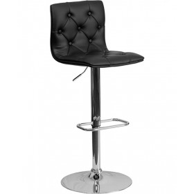 Contemporary Tufted Vinyl Adjustable Stool with Chrome Base