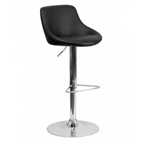Contemporary Vinyl Bucket Seat Adjustable Stool with Chrome Base