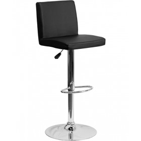 Contemporary Smooth Vinyl Adjustable Stool with Chrome Base