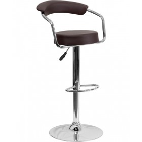 Contemporary Adjustable Height Stool with Arms & Chrome Base