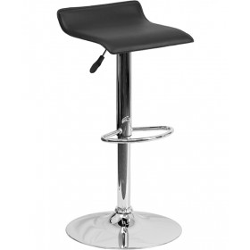 Contemporary Vinyl Adjustable Height Stool with Chrome Base
