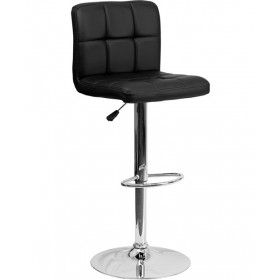 Contemporary Quilted Vinyl Adjustable Stool with Chrome Base