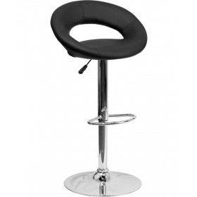 Contemporary Rounded Back Adjustable Stool with Chrome Base