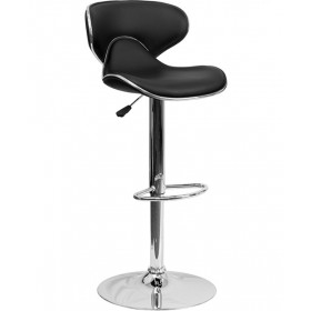 Contemporary Cozy Mid-Back Adjustable Stool with Chrome Base