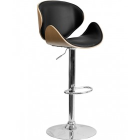 Bentwood Adjustable Stool with Curved Seat and Back