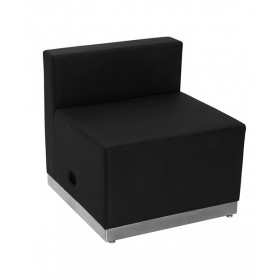Black Leather Chair with Brushed Stainless Steel Base