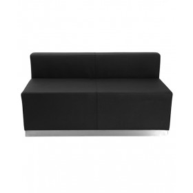 Black Leather Loveseat with Brushed Stainless Steel Base