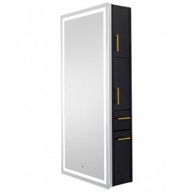 Pibbs Lumina Gold LED Salon Mirror & Storage Server