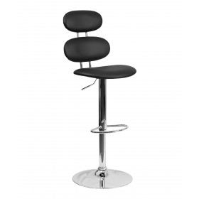 Contemporary Cubix Adjustable Height Barstool With Chrome Base