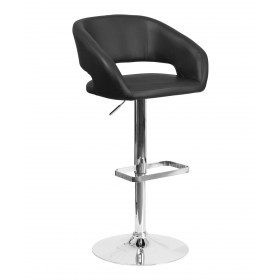 Contemporary Curved Vinyl Adjustable Stool With Chrome Base