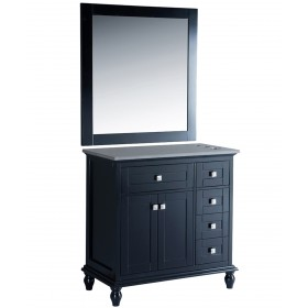 "Madison 36"" Black Vanity Styling Station & Mirror"