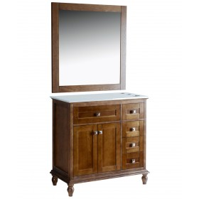 "Madison 36"" Walnut Vanity Styling Station & Mirror"