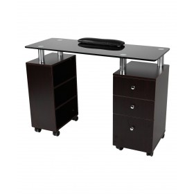 J&A Glass Top Manicure Table