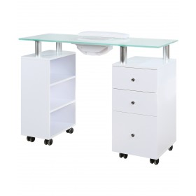 J&A Glass Top Manicure Table w/ Draft Fan