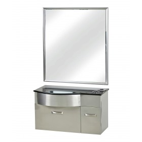 Pibbs PB52B Stainless Steel Styling Station w/ Mirror