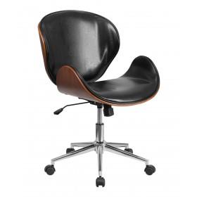 Mid-Back Walnut Wood Swivel Chair