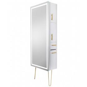 Pibbs Lumina Gold LED Salon Mirror & Storage Server w/ Legs