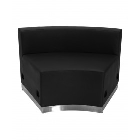 Black Leather Concave Chair With Brushed Stainless Steel Base