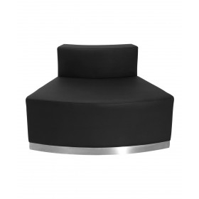 Black Leather Convex Chair With Brushed Stainless Steel Base